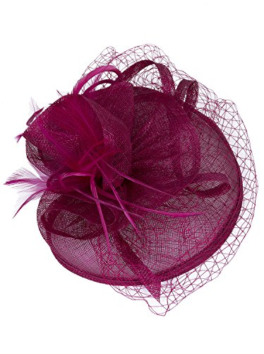 Vijiv Women Vintage Derby Fascinator Hat With Veil Pillbox Headband Feather Cocktail Tea Party