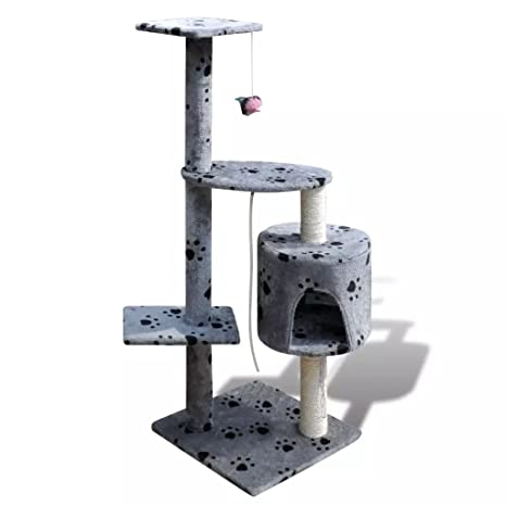 Xinglieu Árbol para Gatos 114 cm 1 Plaza Gris con Huellas rascador para Gatos