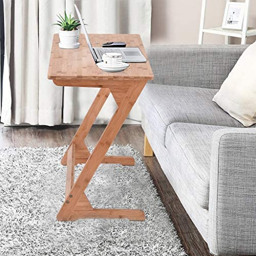 UTPO Bamboo TV Tray Z-Shaped End Table Snack Laptop Desk Night Stand Couch Side Table Moveable Stand in Living Room for Eating Reading Working Home Office Furniture