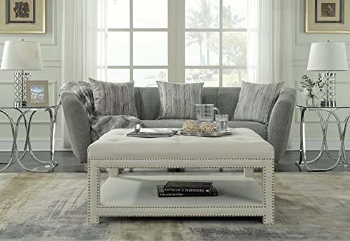 Iconic Home Bina Coffee Table Ottoman 2-Layer Polished Nailhead Tufted Linen Bench, Modern Transitional, Beige