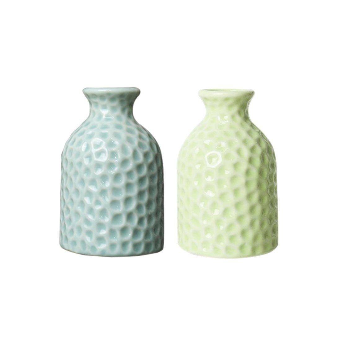 SODIAL 2unids Azul Verde Agua Cubo Ceramica florero Creativo casa Oficina Decoracion Escritorio Flores Simple artesania Ceramica aromaterapia Botella: ...