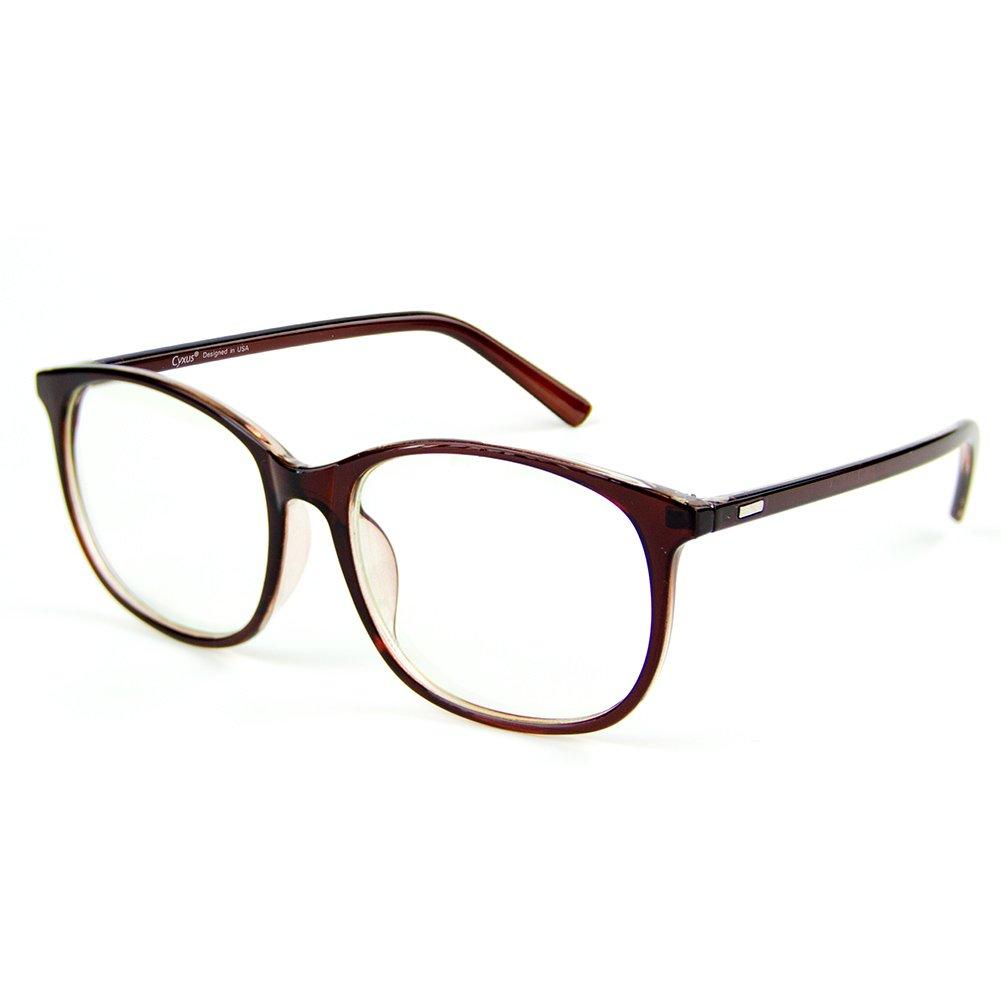 Cyxus Blue Light Filter [Transparent Lens] Computer Reading Glasses, Tea Brown Frame Cyxus Technology Group Ltd