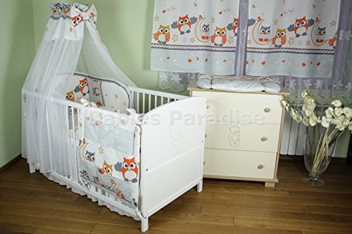 Baby Bettwäsche Set Eule New Design (20 tlg, Grau)