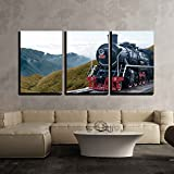 wall26 - 3 Piece Canvas Wall Art - Vintage Black Steam Powered Railway Train - Modern Home Decor Stretched and Framed Ready to Hang - 24''x36''x3 Panels