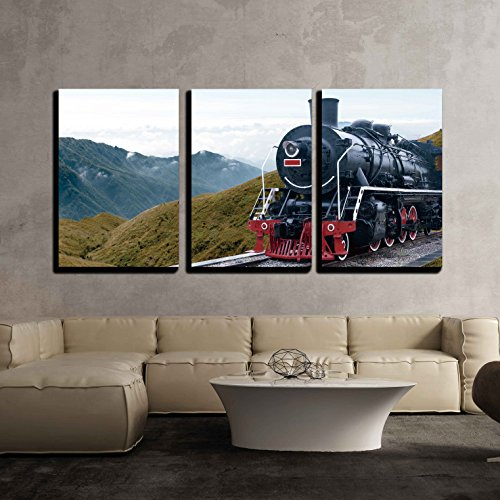 Train Engine Canvas (wall26 - 3 Piece Canvas Wall Art - Vintage Black Steam Powered Railway Train - Modern Home Decor Stretched and Framed Ready to Hang - 24