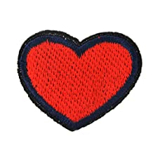 Souarts Red Heart Shaped DIY Embroidered Sew Iron On Applique Patches Pack of 15pcs