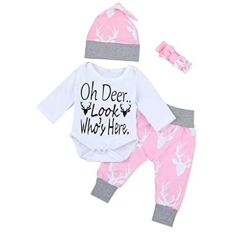 Ropa bebé otoño invierno Amlaiworld Bebé recién nacido niñas niños trajes mameluco juego de ropa 0-24 Mes (Tamaño:0-6Mes, Rosa)