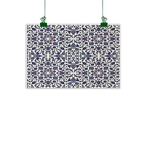 (Unpremoon Arabesque Canvas Art Painting Moroccan Floral Pattern with Victorian Rococo Baroque Oriental Design Abstract Artwork Home Decor Cream Indigo Red Blue W 40