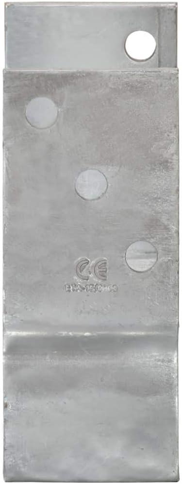 vidaXL 6x Piquets de Cl/ôture Support de Poteau Installation de Cl/ôtures de Jardin Poteau dAncrage Piquet de Sol Argent/é 10x6x30 cm Acier Galvanis/é
