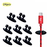 Cable Clips, Lecone Long lasting Stick-on Charging Cable Organizer Cord Keeper Holder for Car, Desk, Floor, All Surface (Pack of 24)