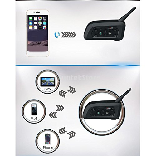 Dovewill 2 Packs Vnetphone V6 BT 1.2KM Wireless Motorcycle Helmet Bluetooth 3.0 Intercom Headset Motorbike Interphone Connect Up to 6 Riders by Dovewill (Image #3)