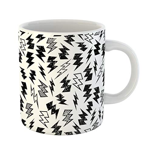 - Emvency Coffee Tea Mug Gift 11 Ounces Funny Ceramic Pattern Black and White Distressed Lightning Bolt Kid Gifts For Family Friends Coworkers Boss Mug