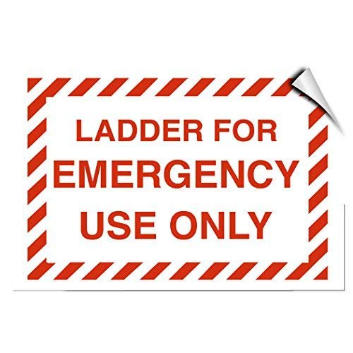 Ladder for Emergency Use Only Hazard Sign Self Adhesive Vinyl Warning Stickers Van Truck Notice Safety Sign Lable Dacal 7 Inches X 5 Inches