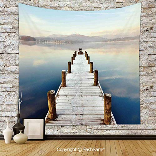 (FashSam Tapestry Wall Hanging Wooden Jetty to Lake with Distant Hills Seascape Tranquility Calm Scenery Tapestries Dorm Living Room)