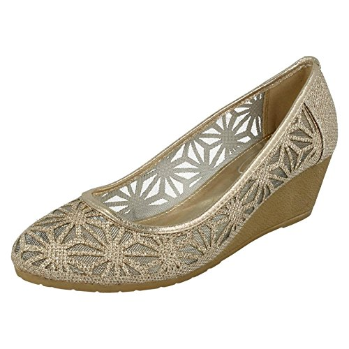 Shoes Ladies On Spot Gold Wedge Gold Meshed Light xIqwFw8