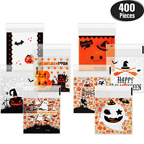 400 Pieces Self Adhesive Candy Bag Halloween Clear Cookie Bags Cellophane Treat Bags for Homemade Craft, Halloween Party -
