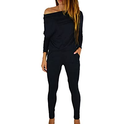Fixmatti Women Off Shoulder Elastic Waisted Long Pant Casual Jumpsuit Outfits: Clothing