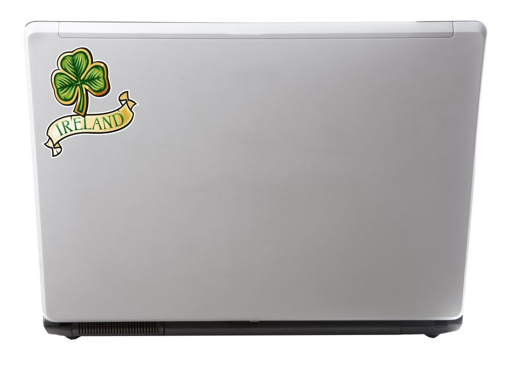 Ireland Clover Lucky Irish iPad Laptop Decal #4031 2 x Glossy Vinyl Stickers 10cm Wide x 8.6cm Tall