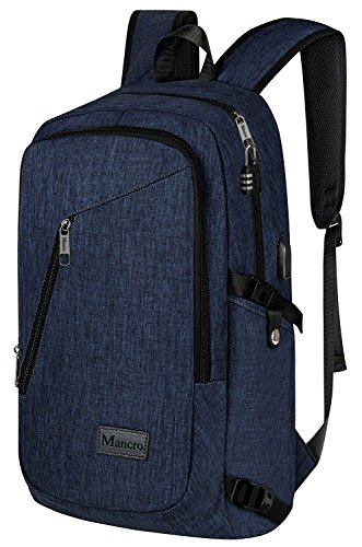 College Backpack, Business Slim Laptop Backpack, Mancro Anti-theft Water Resistant Computer Backpack w/ USB Charging Port, Lightweight Travel Bag Fit 15.6 Inch Laptops & Tablets in Dark Indigo