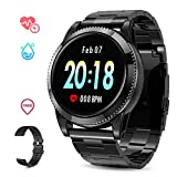 Smart Watch for Men, GOKOO Sports Smartwatch Fitness Tracker with Pedometer Notifications Music Control Blood Pressure Heart Rate Monitor Camera Color Touch Screen for Android iOS (Black)