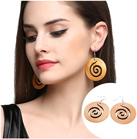 EVBEA Vintage Big Statement Round Dangle Earrings Age Spiral Wooden Earrings for Women (Yellow)