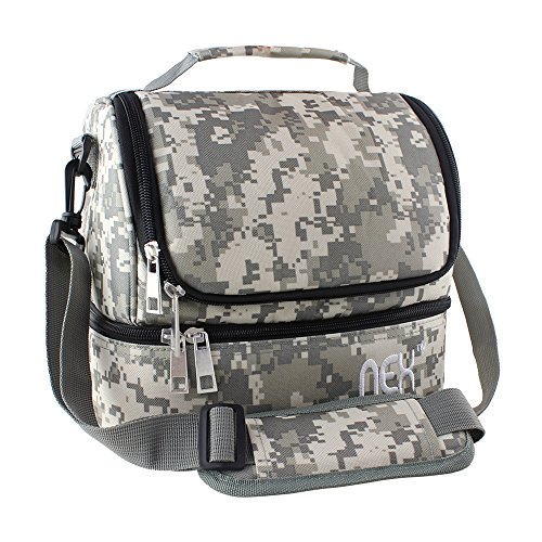 NEX Portable Lunch Bag with Adjustable Shoulder Strap and Comfortable Handle, Fabric Lunch Box for Men Women Kids Double Decker Cooler (Camouflage)