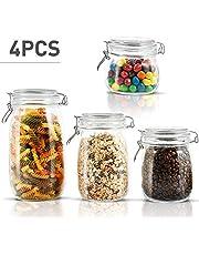 MASTERTOP 4 Tarros de Cristal Transparentes Herméticos con Cierre de Clip,Botes Herméticos Cocina de Tipo 1,5L, 1L, 0,76L, 0,5L para Conservar los Alimentos