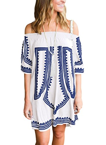 GOSOPIN Bohemian Vibe Geometric Print Off The Shoulder Beach