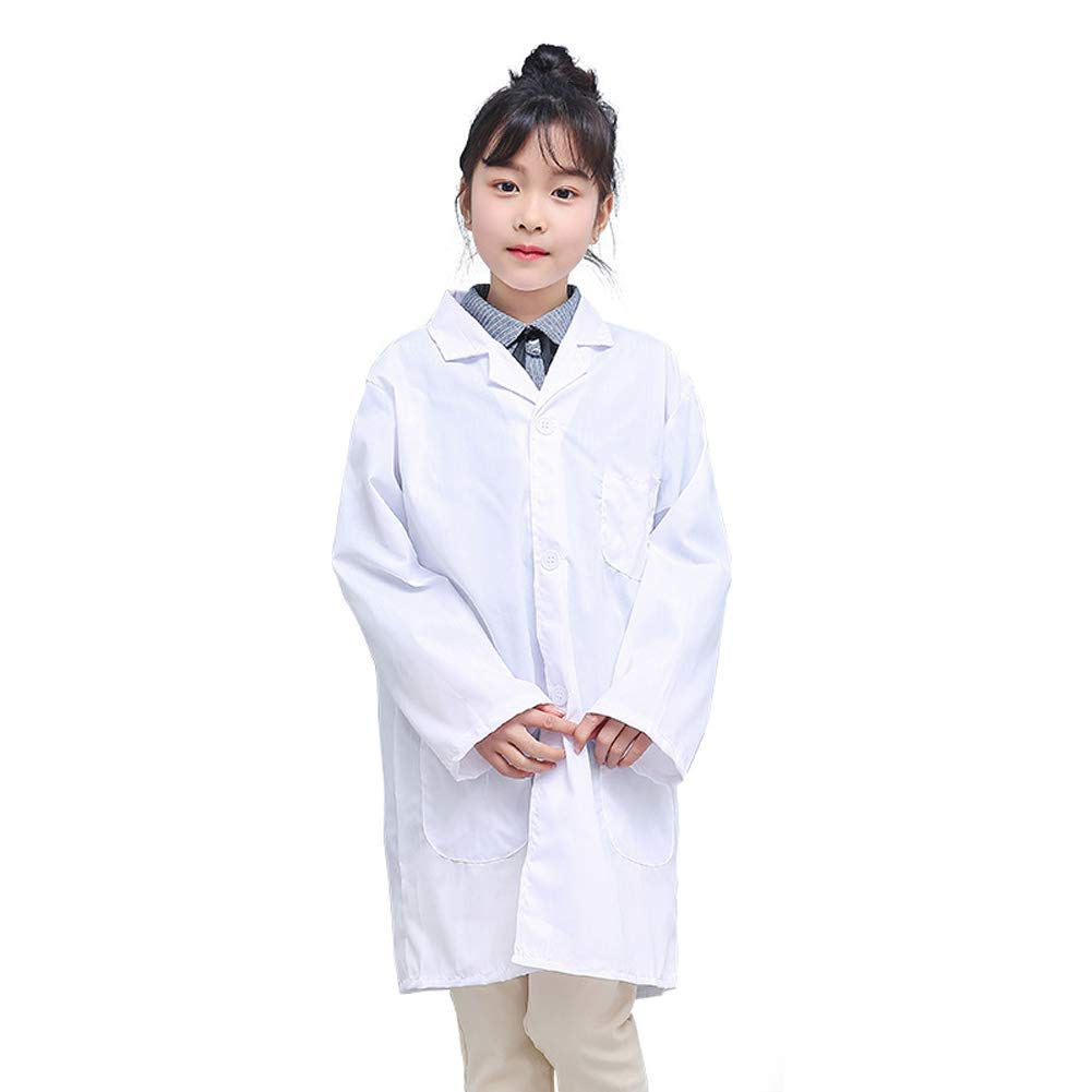 WHITE LAB COAT DOCTOR COSPLAY CHILD COSTUME SCIENTIST SCRUBS BOYS GIRLS UNIFORM