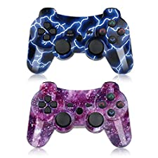 PS3 Controller Wireless 2 Pack Double Shock Gamepad for Playstation 3 Remotes, Sixaxis Wireless PS3 Controller with Charging Cable (Blue and Purple)