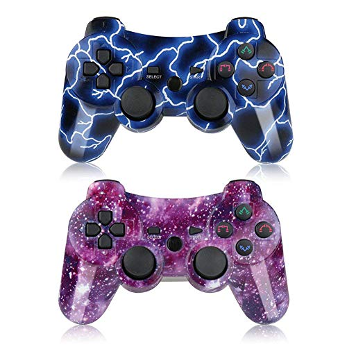 (Bowei PS3 Controller Wireless 2 Pack Double Shock Gamepad for Playstation 3 Remotes, Six-Axis Wireless PS3 Controller with Charging Cable, Blue+ Purple)