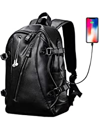 Men's Backpack, PU Leather College Travel Backpack Laptop Bag with Headphone USB Charging Ports, Black