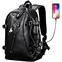 HaloVa Men's Backpack, PU Leather College Travel Backpack Laptop Bag with Headphone USB Charging Ports, Black