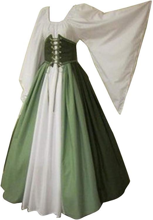 Guiran Damen Mittelalter Kleid Vintage Langarm Fantasy Kleider Cosplay Kostüm