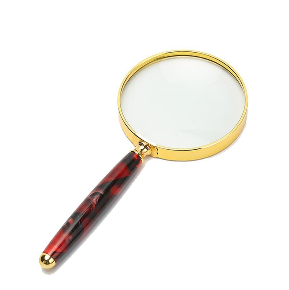 HRRH Lupa de Mano Lupa de Bolsillo 10X Grande 80 Mm 10X Bolsillo Zoom In Lente de Metal Resistente y Calidad de Borde Lente de Precisión de Vidrio Real, Rojo 77f847