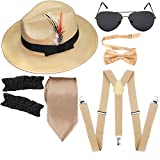 1920s Mens Manhattan Trilby Fedora Hat, Garters Armbands,Y-Back Suspenders & Pre Tied Bowtie, Gangster Sunglass (Champagne)
