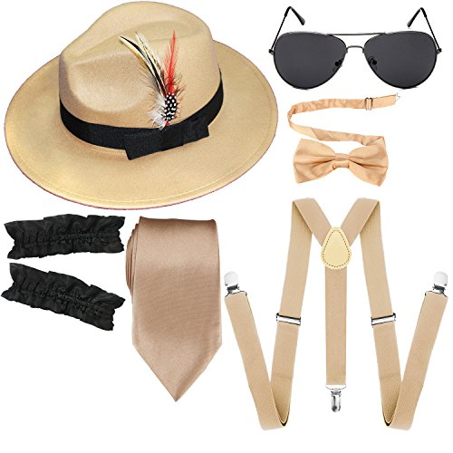 1920s Mens Manhattan Trilby Fedora Hat, Garters Armbands,Y-Back Suspenders & Pre Tied Bowtie, Gangster Sunglass (Champagne)]()