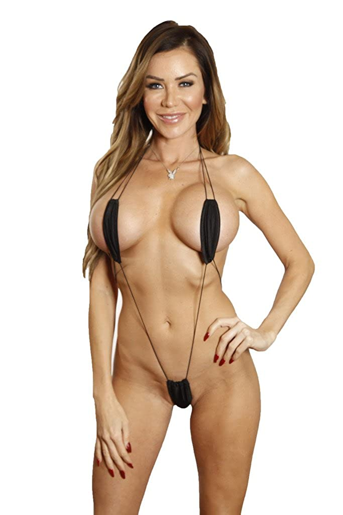 610d32f0c1 Amazon.com  Bitsy s Bikinis Solid Black Corded Slingshot Teardrop Extreme  Micro Mini Bikini  Clothing