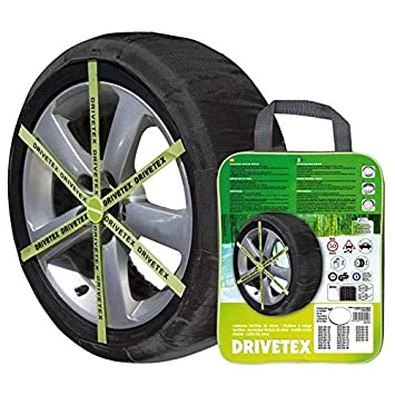 DRIVETEX79 - Kit 2 fundas-cadenas textiles turismos DRIVETEX hielo/nieve talla 79 y 2 guantes para el montaje: Amazon.es: Coche y moto