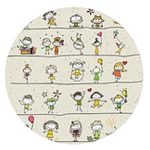 alfombrilla de ratón felices los niños dibujo a mano de dibujos animados - ronda - 20cm