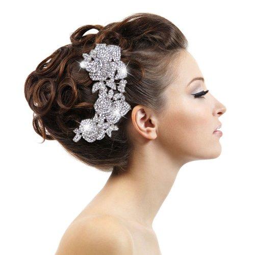 Ever Faith - Peigne à cheveux Autrichien Cristal simulé Perle Braut 3 Rose Ton-Argent A13538-1