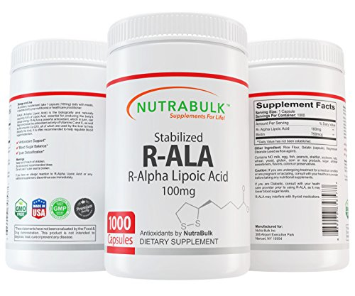 NutraBulk R-ALA (Alpha Lipoic Acid) 100mg Capsules 1000 Count by NutraBulk