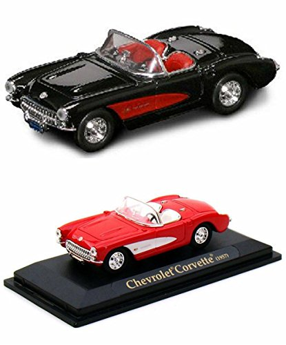 (1957 Chevrolet Corvette Convertible Diecast Car Package - Two 1/43 Scale Diecast Model Cars)