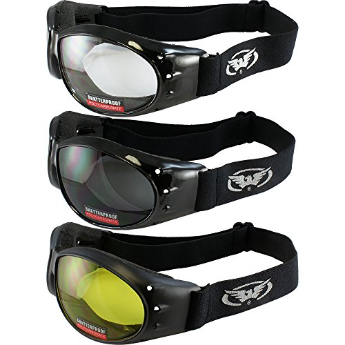 3 Red Baron Motorcycle Eliminator Padded Goggles Airsoft Googles Clear Smoke Yellow Day and Night riding comfort You Should Have Googles For Any Weather Condition ()