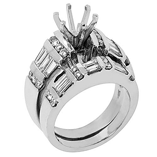 14k White Gold Baguette Round Diamond Engagement Ring Semi Mount Set 2.2 Carats