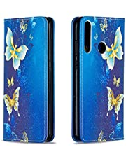 Miagon Wallet Folio Flip PU Leather Case for Huawei Y6P,Creative Painted Design Full-Body Protective Cover Card Holder Kickstand Magnetic,Gold Butterfly