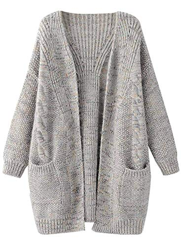 futurino Women's Cable Twist School Wear Boyfriend Pocket Open Front Cardigan Popcorn Sweaters (Sweater Cardigan Marled)