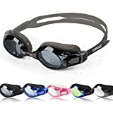 COPOZZ Competitive Swim Goggles, 3550 Shatterproof Swimming Reflective Mirror/Clear Anti Fog UV Protection Water Goggles, No Leaking Triathlon Racing Goggles (3812-Clear Lens Gray)