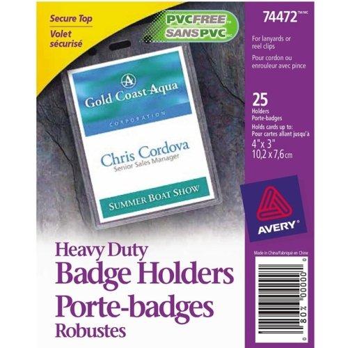 Avery Vertical Style Heavy-Duty Badge Holder - 3.9quot; x 2.6quot; x 0.5quot; - Vinyl - 25 / Pack - Clear Avery Heavy Duty Vinyl