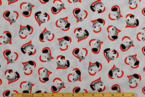 Peanuts Fabric Snoopy in Hearts Fabric in Red with Light Gray Background 100% Cotton Fabric by The Yard -